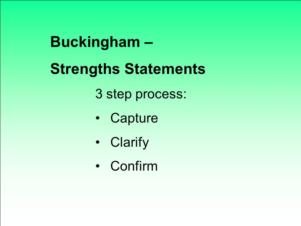 Buckingham – Strengths Statements 3 step process: Capture Clarify