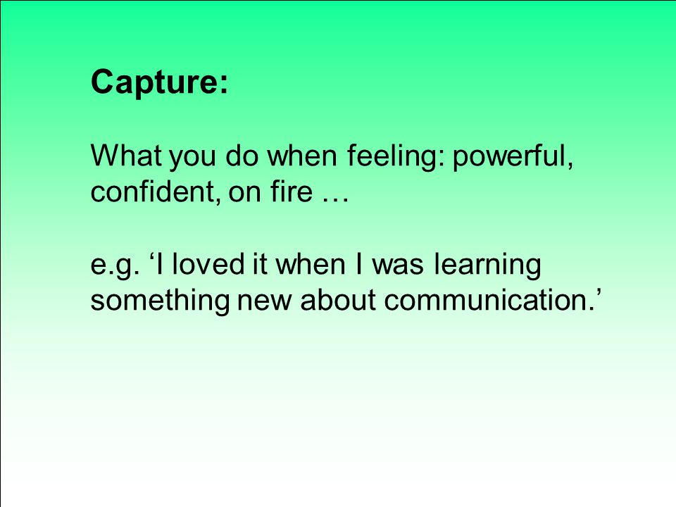 Capture: What you do when feeling: powerful, confident, on fire …