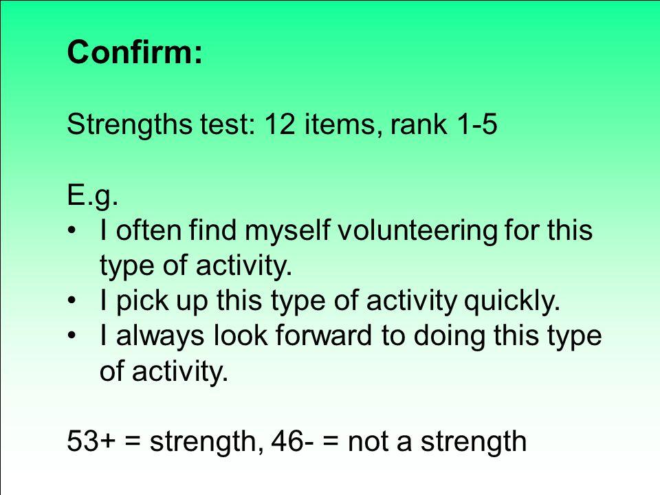 Confirm: Strengths test: 12 items, rank 1-5 E.g.