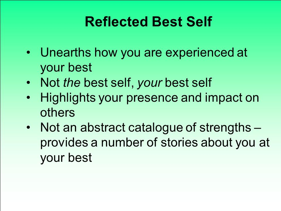 Reflected Best Self Unearths how you are experienced at your best