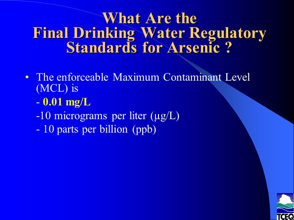 What Are the Final Drinking Water Regulatory Standards for Arsenic