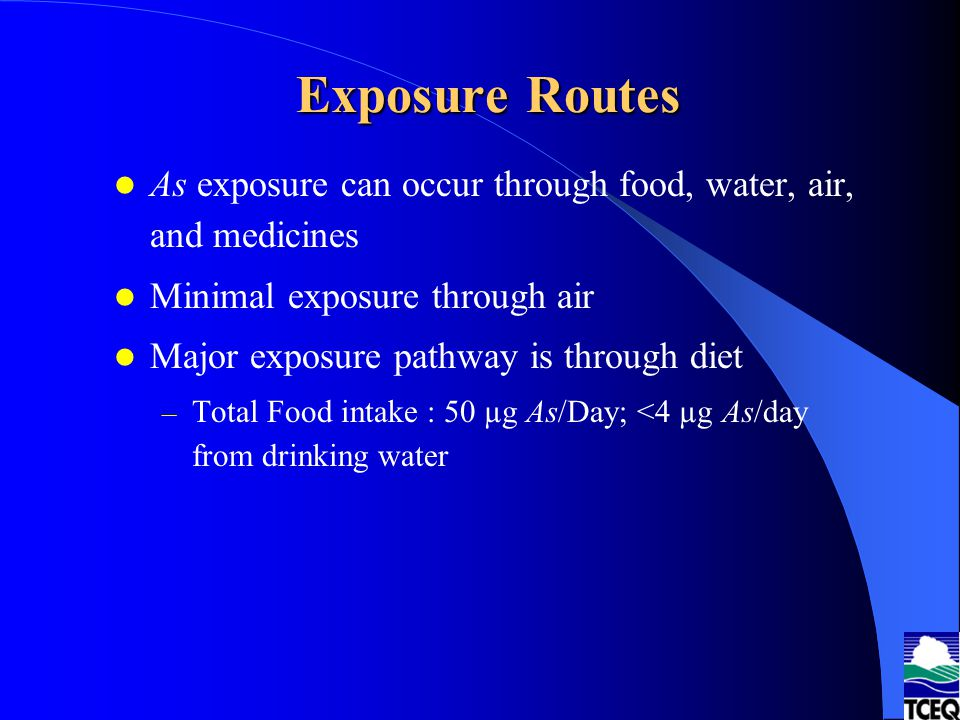 Exposure Routes As exposure can occur through food, water, air, and medicines. Minimal exposure through air.