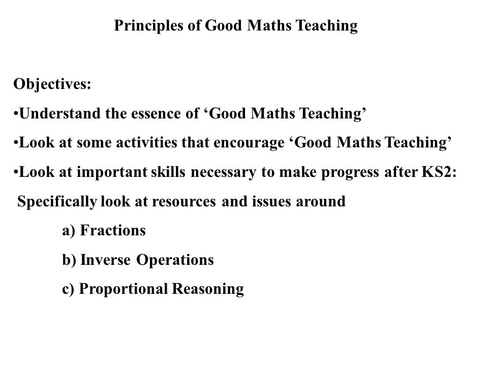 Principles of Good Maths Teaching