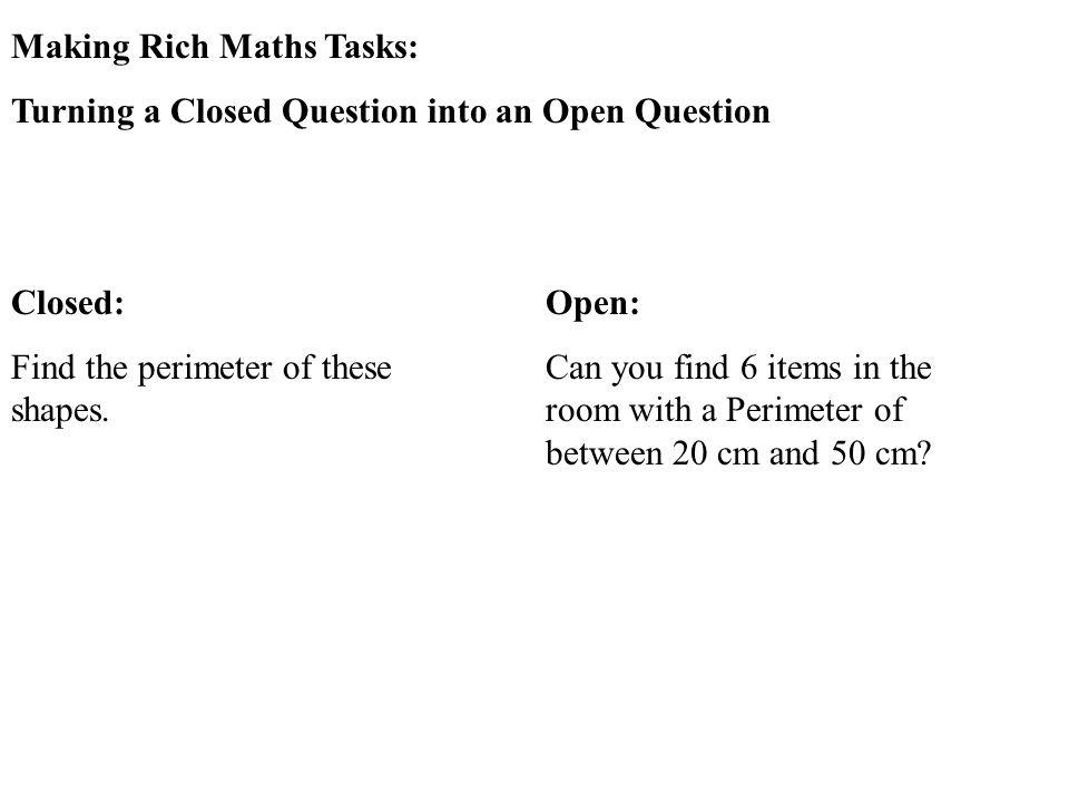 Making Rich Maths Tasks: