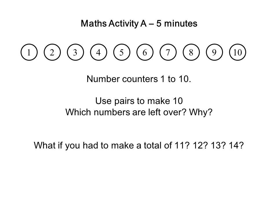 Maths Activity A – 5 minutes
