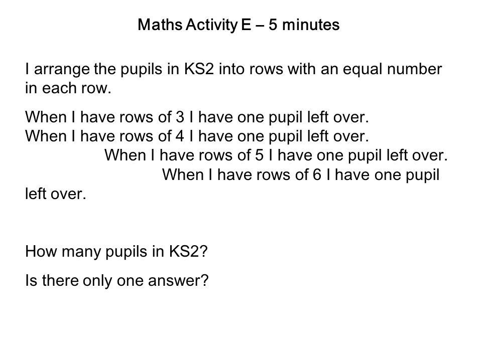 Maths Activity E – 5 minutes