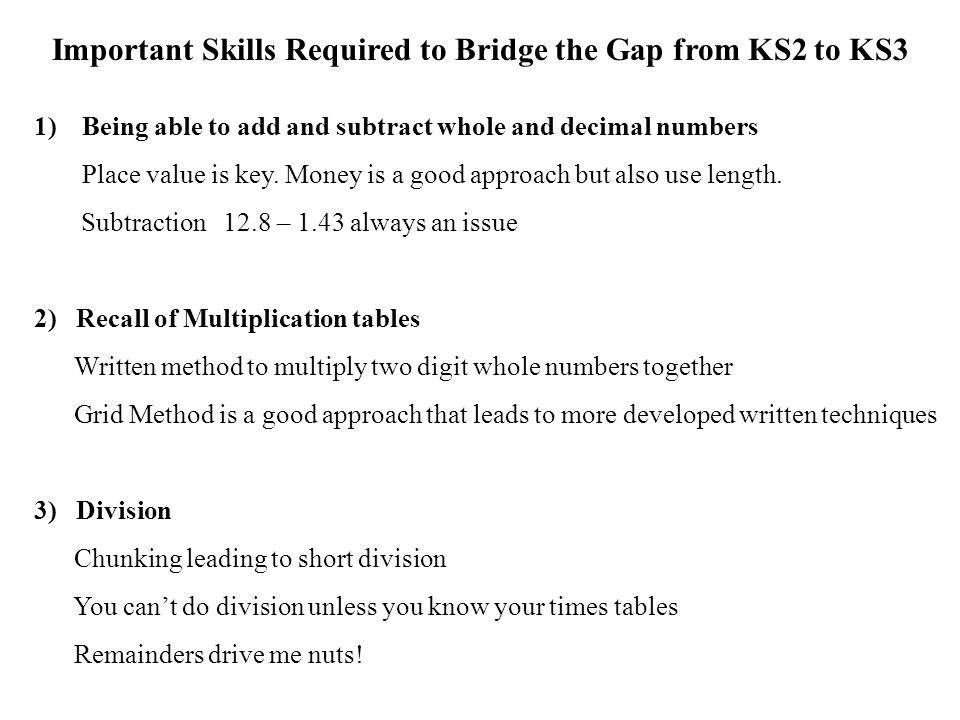 Important Skills Required to Bridge the Gap from KS2 to KS3