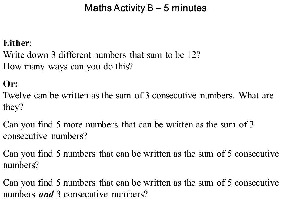 Maths Activity B – 5 minutes