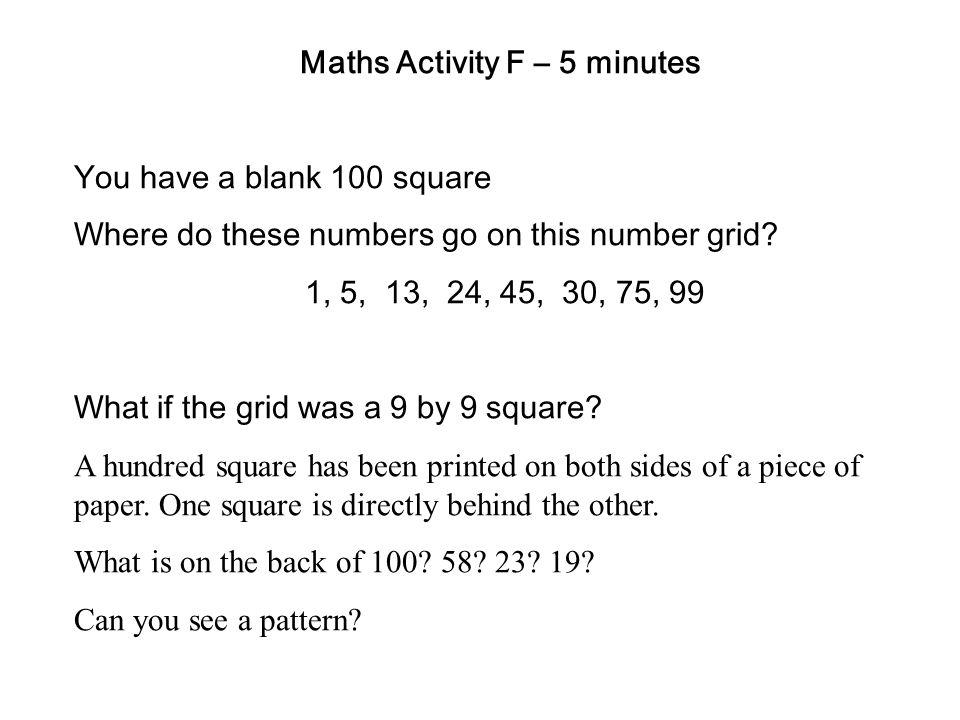 Maths Activity F – 5 minutes