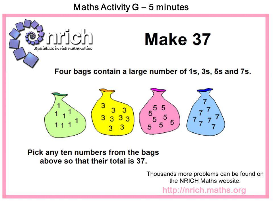 Maths Activity G – 5 minutes