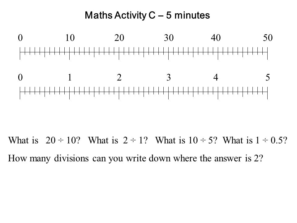 Maths Activity C – 5 minutes