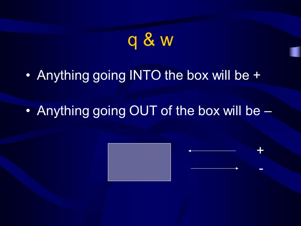 q & w Anything going INTO the box will be +