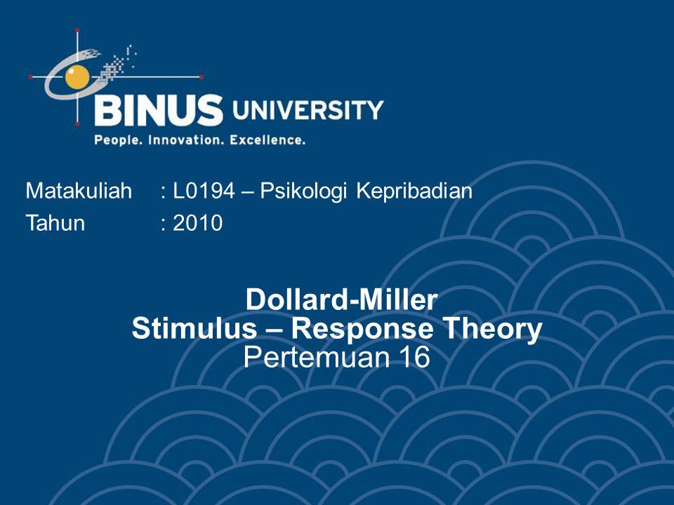 Dollard-Miller Stimulus – Response Theory Pertemuan 16