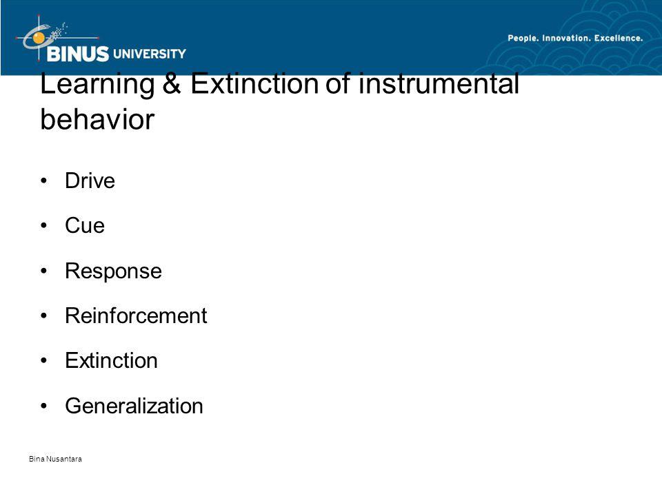 Learning & Extinction of instrumental behavior