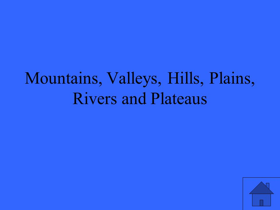 Mountains, Valleys, Hills, Plains, Rivers and Plateaus