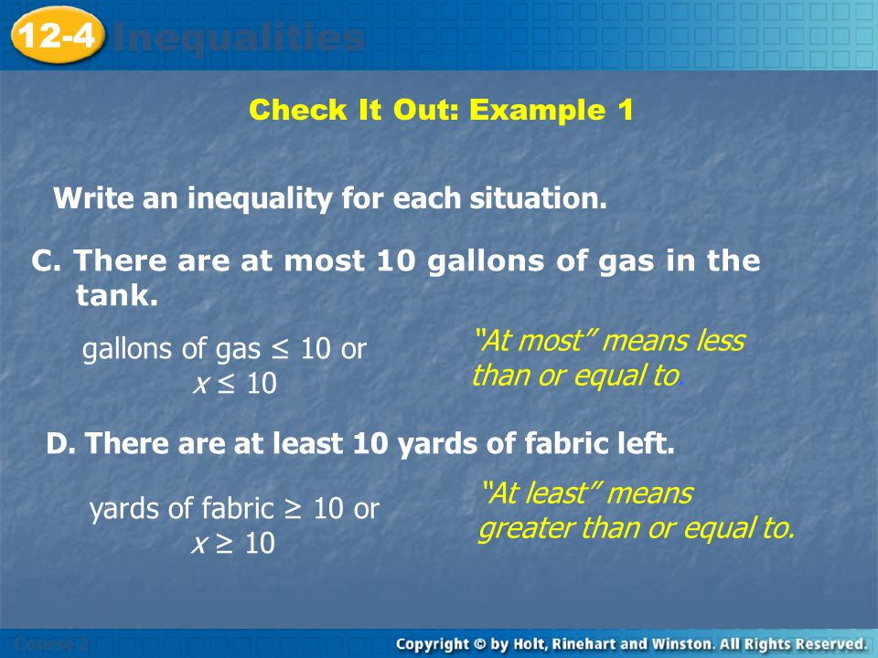Inequalities 12-4 Check It Out: Example 1