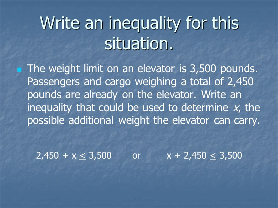 Write an inequality for this situation.