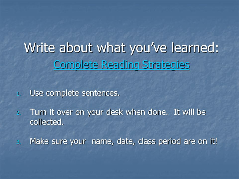 Write about what you've learned: