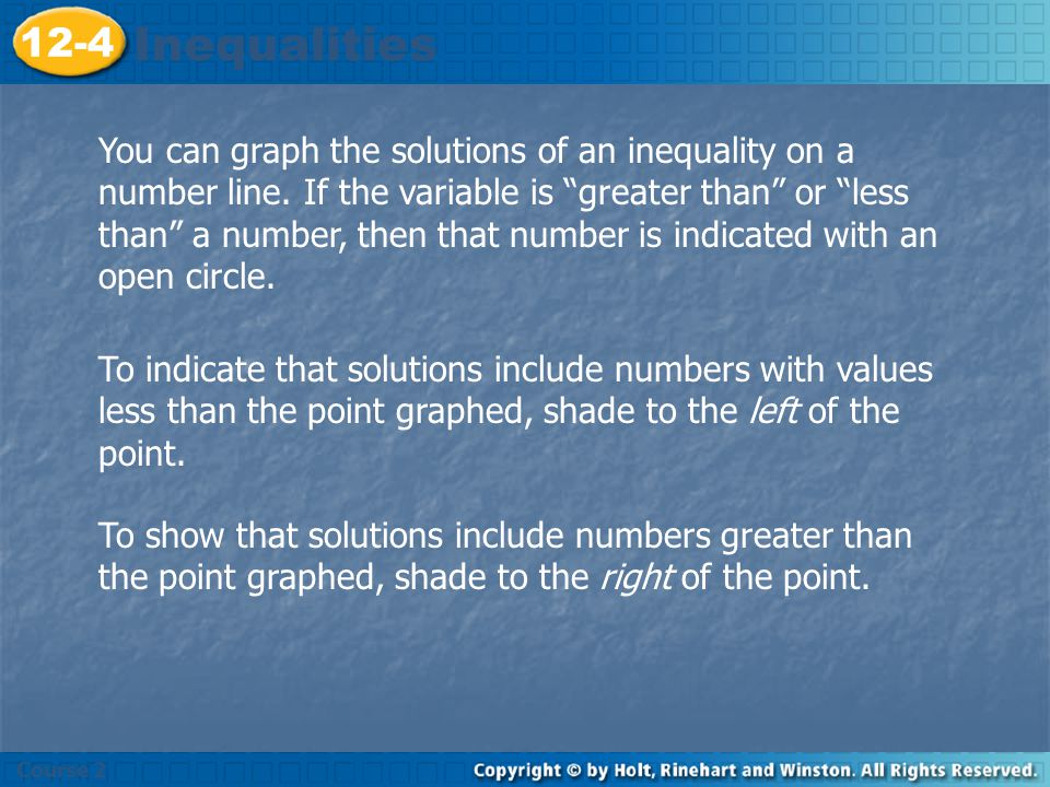 Course 2 12-4. Inequalities.