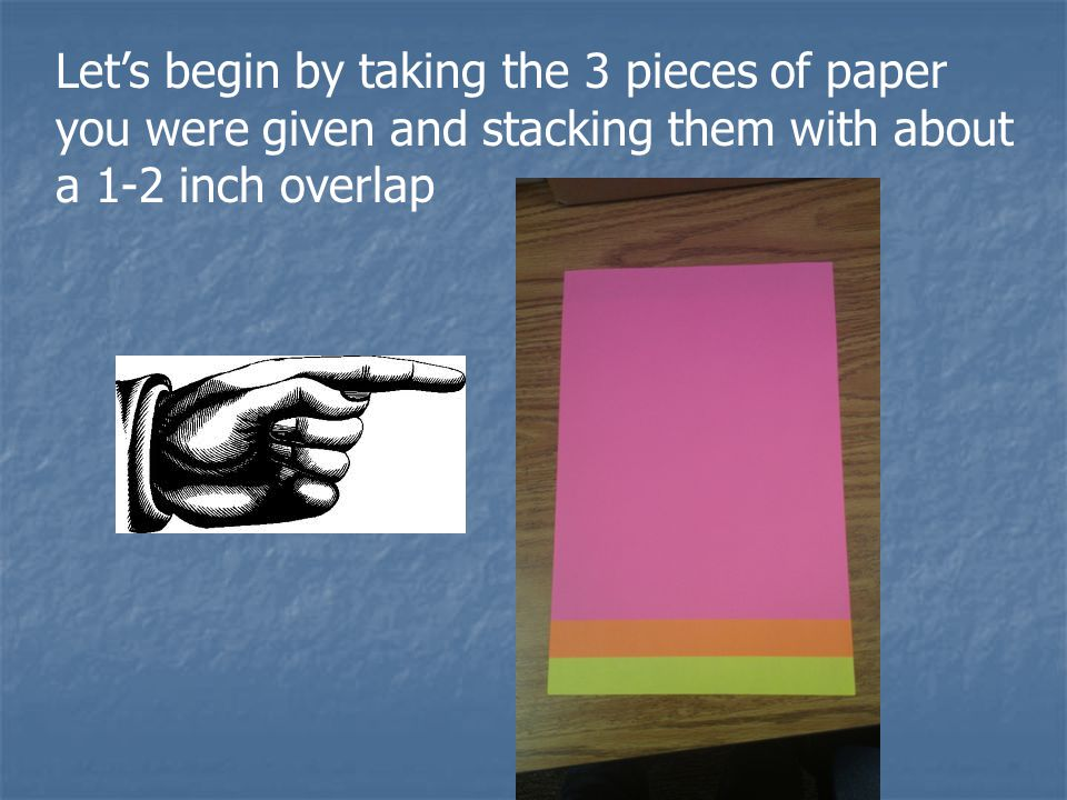 Let's begin by taking the 3 pieces of paper you were given and stacking them with about a 1-2 inch overlap