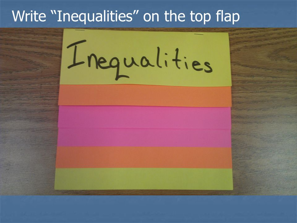 Write Inequalities on the top flap