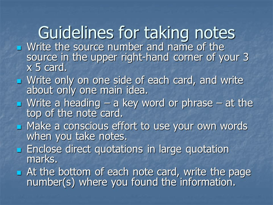 Guidelines for taking notes