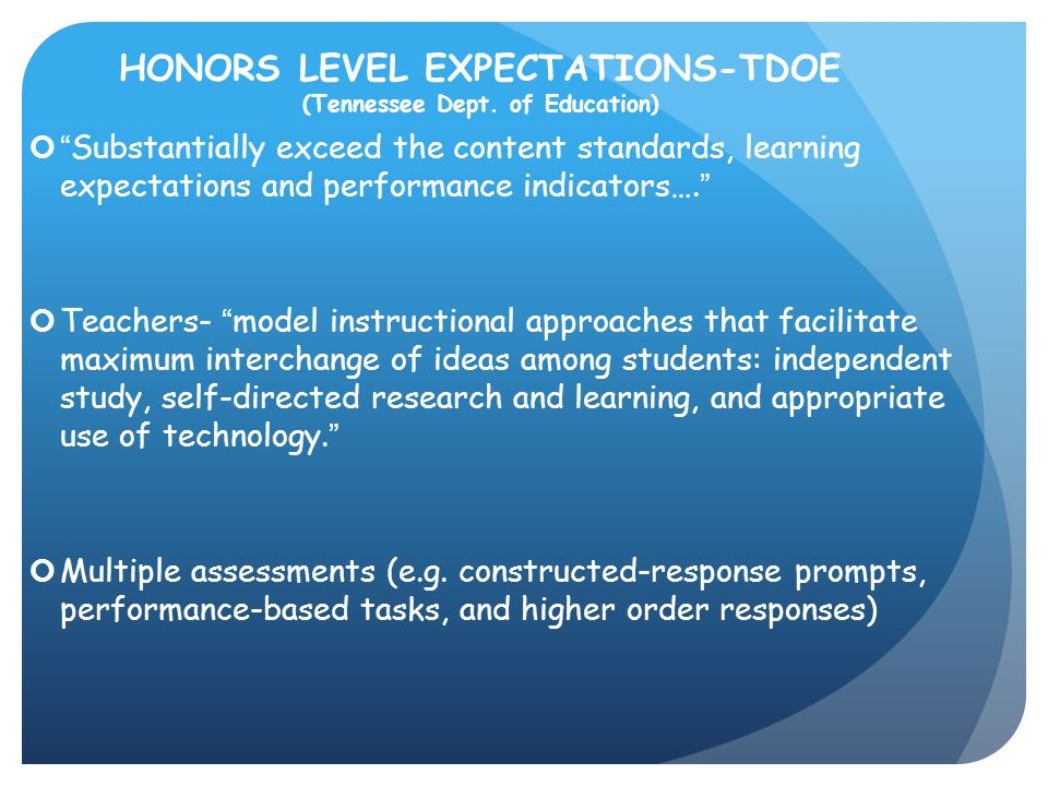 HONORS LEVEL EXPECTATIONS-TDOE (Tennessee Dept. of Education)