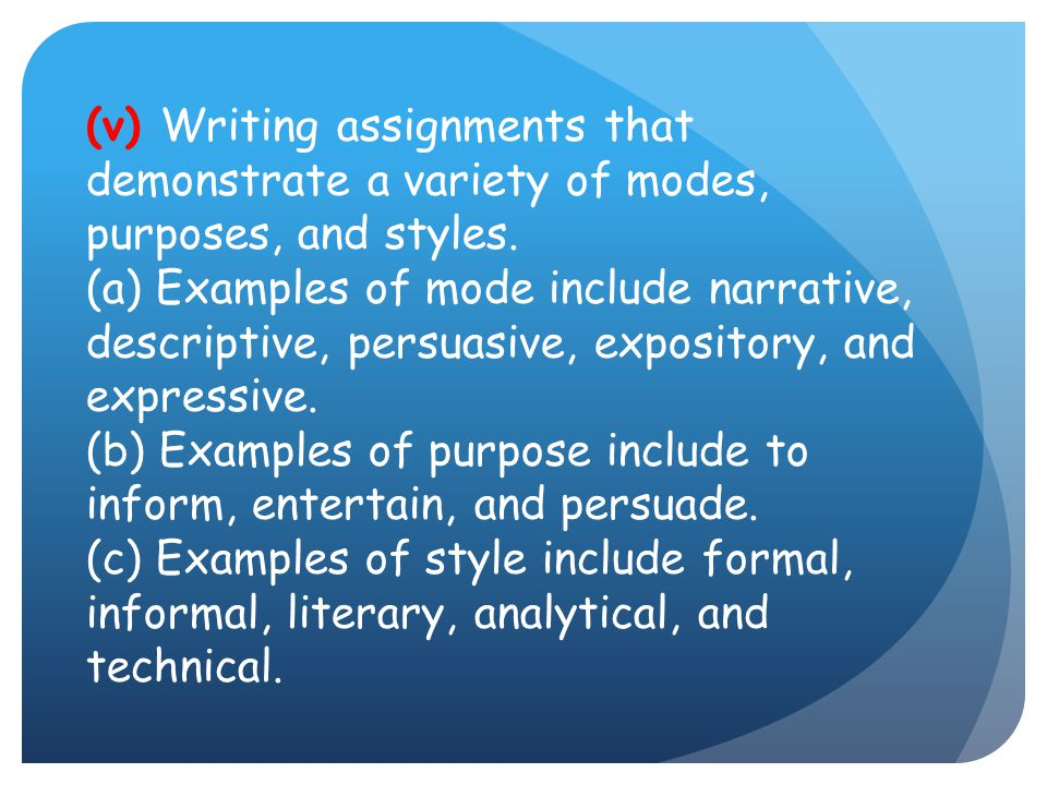 (v) Writing assignments that demonstrate a variety of modes, purposes, and styles.