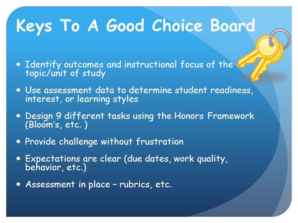 Keys To A Good Choice Board