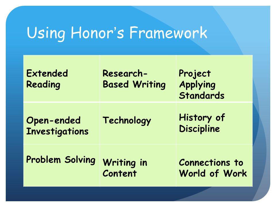Using Honor's Framework