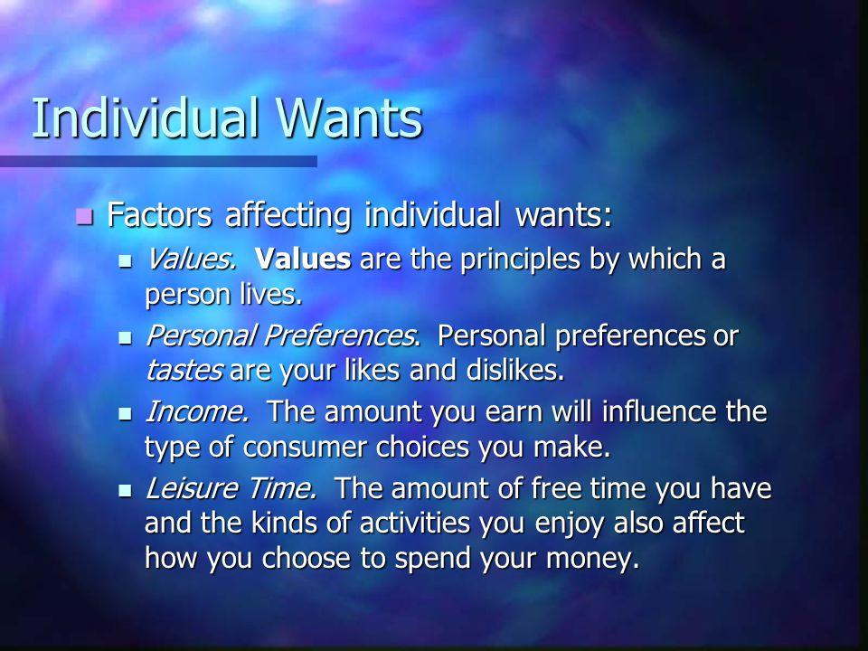 Individual Wants Factors affecting individual wants: