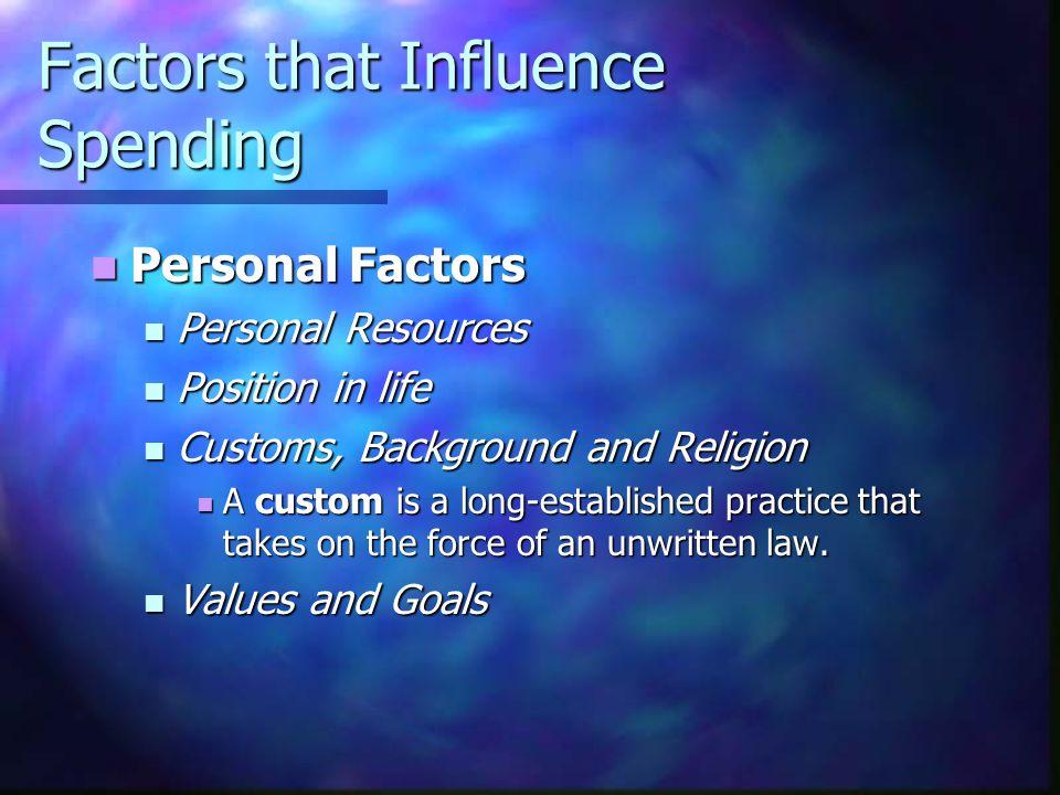 Factors that Influence Spending