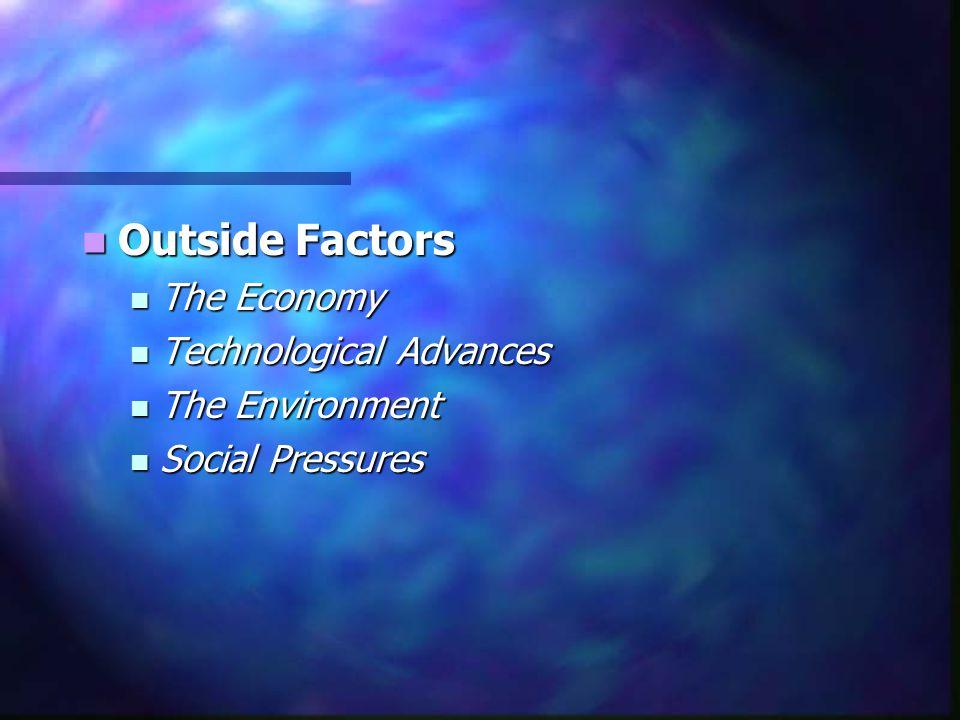 Outside Factors The Economy Technological Advances The Environment