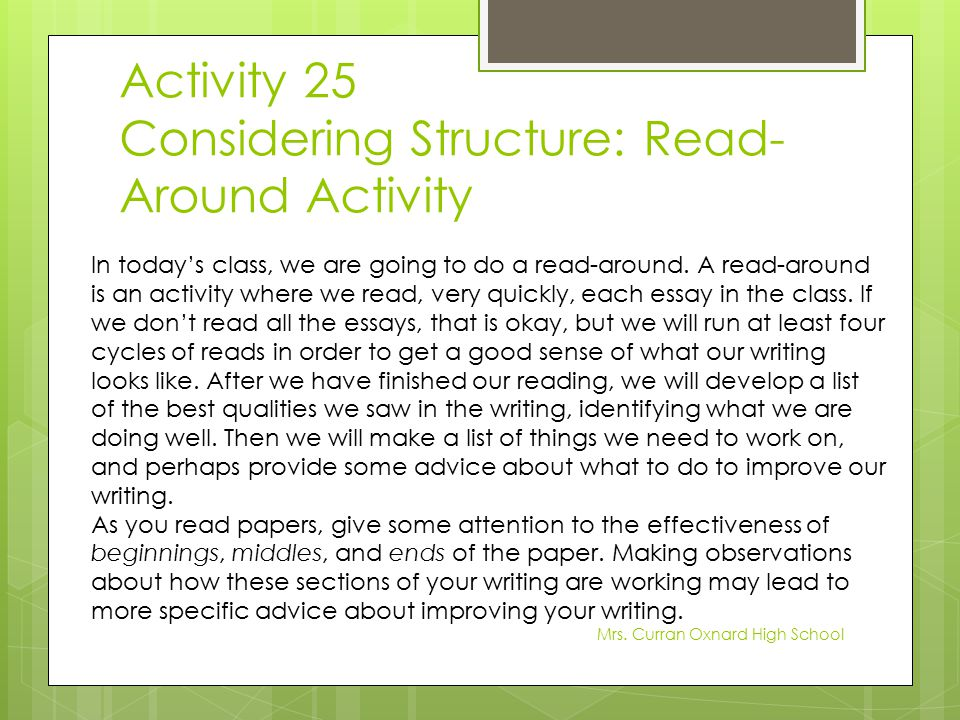 Activity 25 Considering Structure: Read-Around Activity