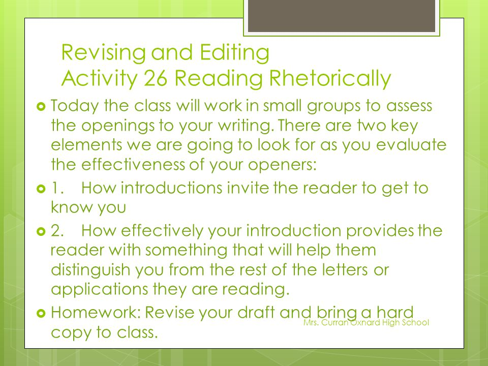 Revising and Editing Activity 26 Reading Rhetorically