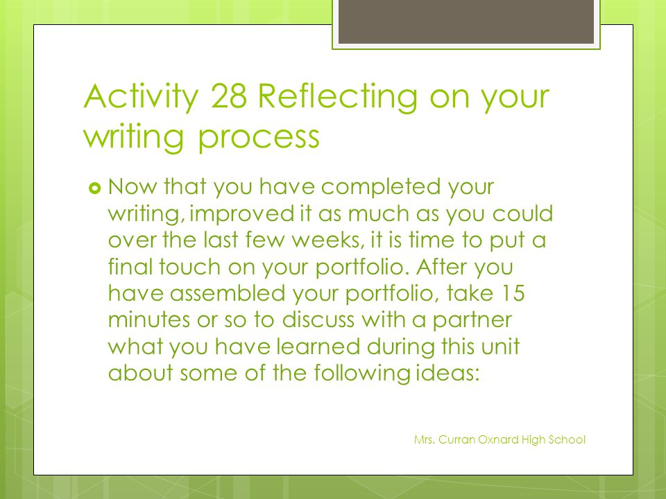 Activity 28 Reflecting on your writing process