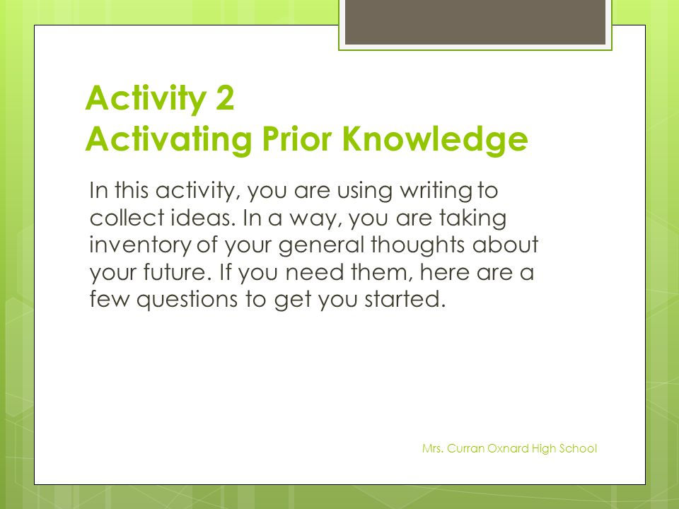 Activity 2 Activating Prior Knowledge