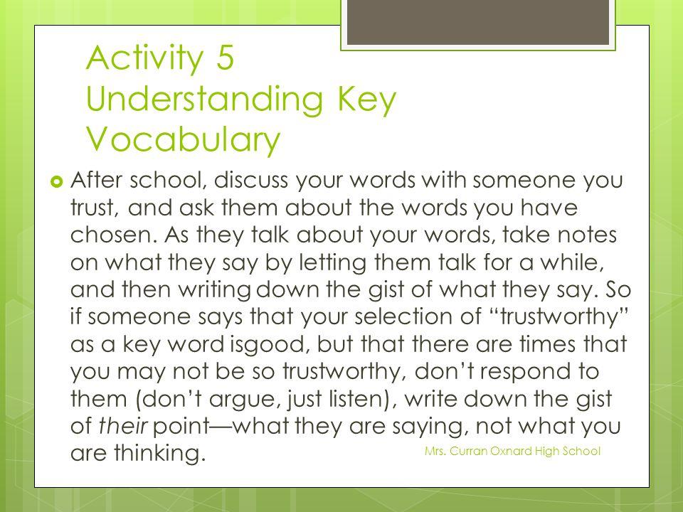 Activity 5 Understanding Key Vocabulary