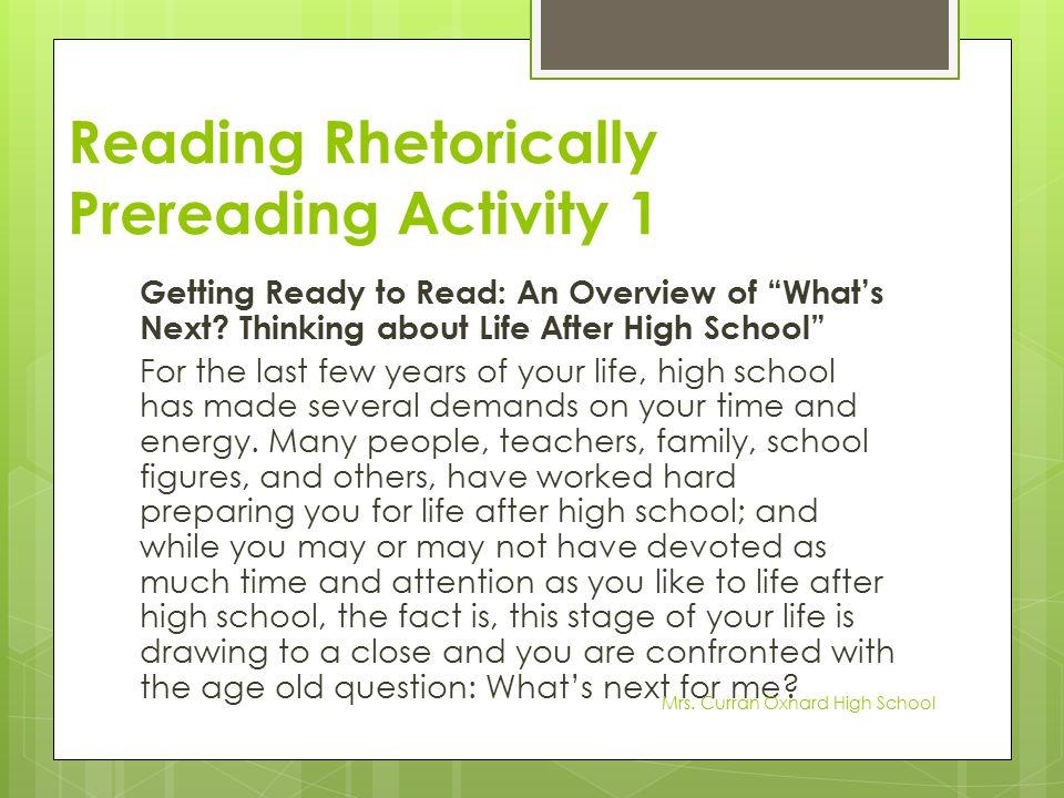 Reading Rhetorically Prereading Activity 1