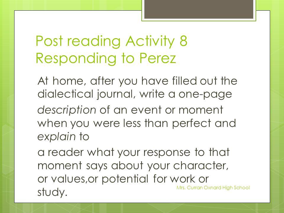Post reading Activity 8 Responding to Perez