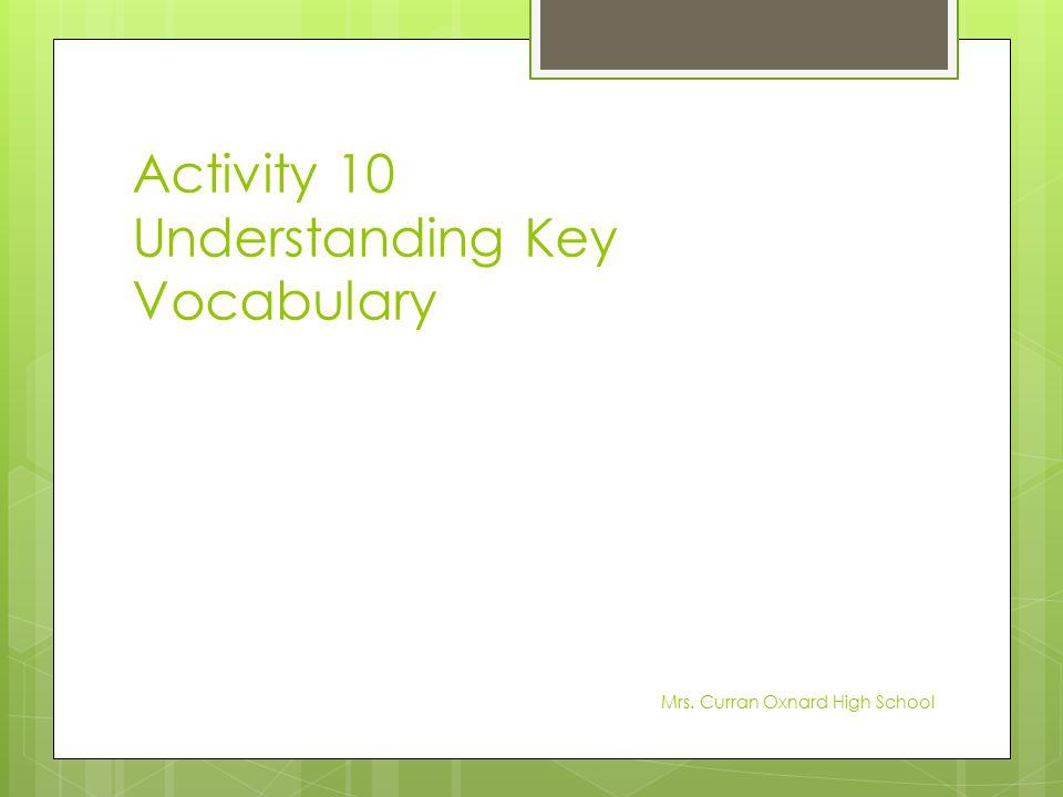 Activity 10 Understanding Key Vocabulary