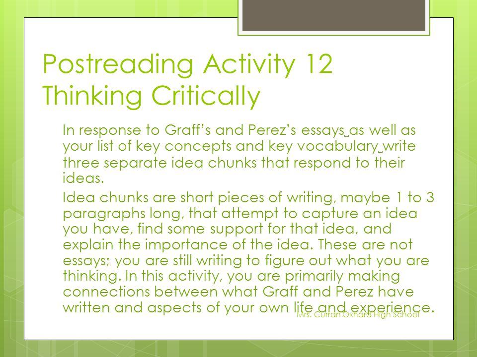 Postreading Activity 12 Thinking Critically