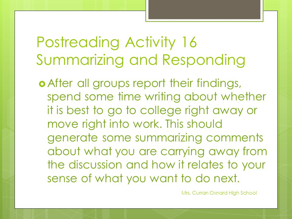 Postreading Activity 16 Summarizing and Responding