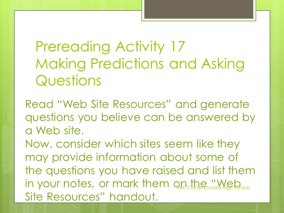 Prereading Activity 17 Making Predictions and Asking Questions