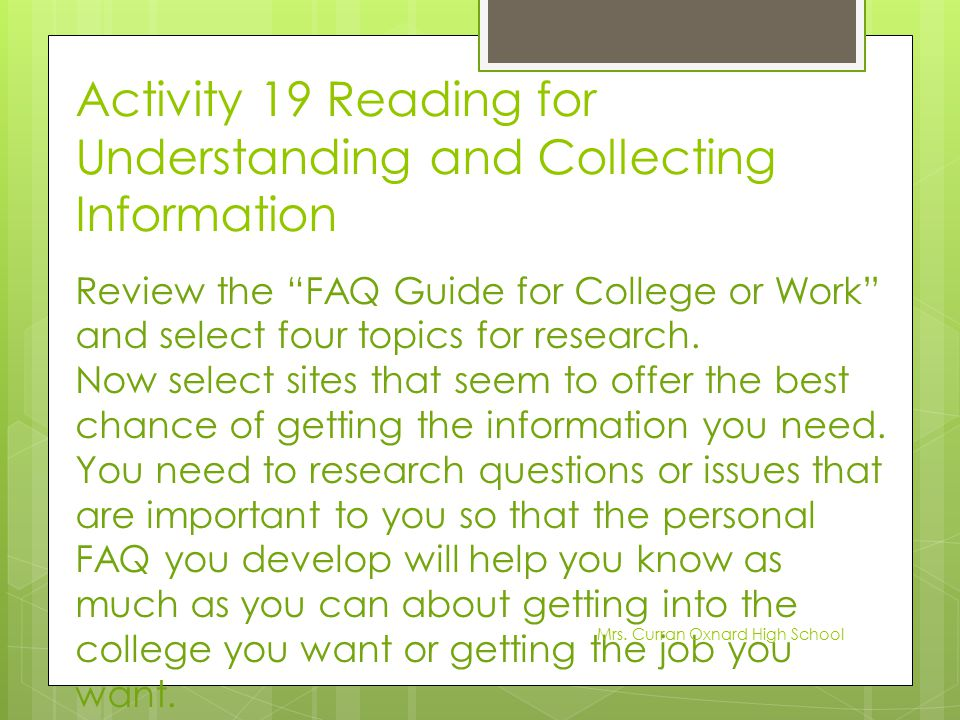Activity 19 Reading for Understanding and Collecting Information