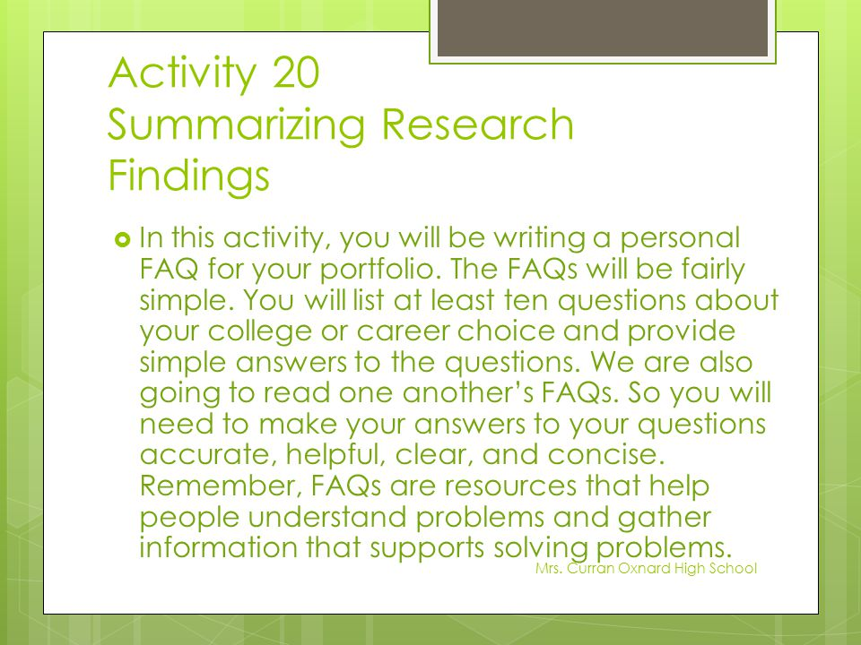 Activity 20 Summarizing Research Findings