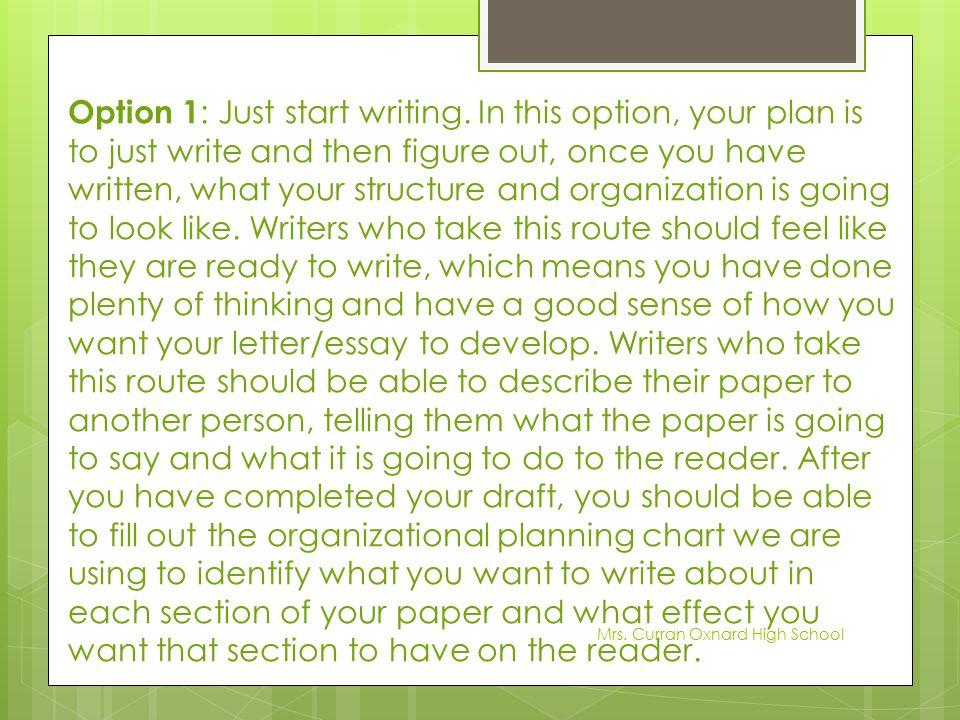 Option 1: Just start writing