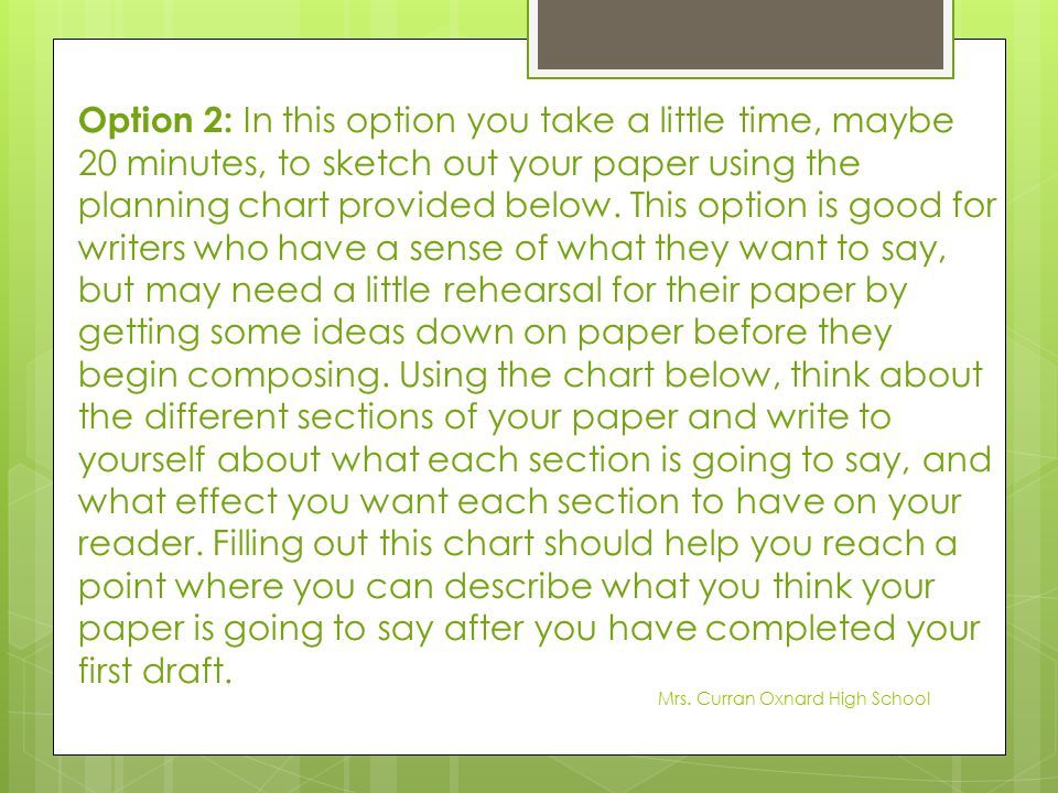 Option 2: In this option you take a little time, maybe 20 minutes, to sketch out your paper using the planning chart provided below. This option is good for writers who have a sense of what they want to say, but may need a little rehearsal for their paper by getting some ideas down on paper before they begin composing. Using the chart below, think about the different sections of your paper and write to yourself about what each section is going to say, and what effect you want each section to have on your reader. Filling out this chart should help you reach a point where you can describe what you think your paper is going to say after you have completed your first draft.
