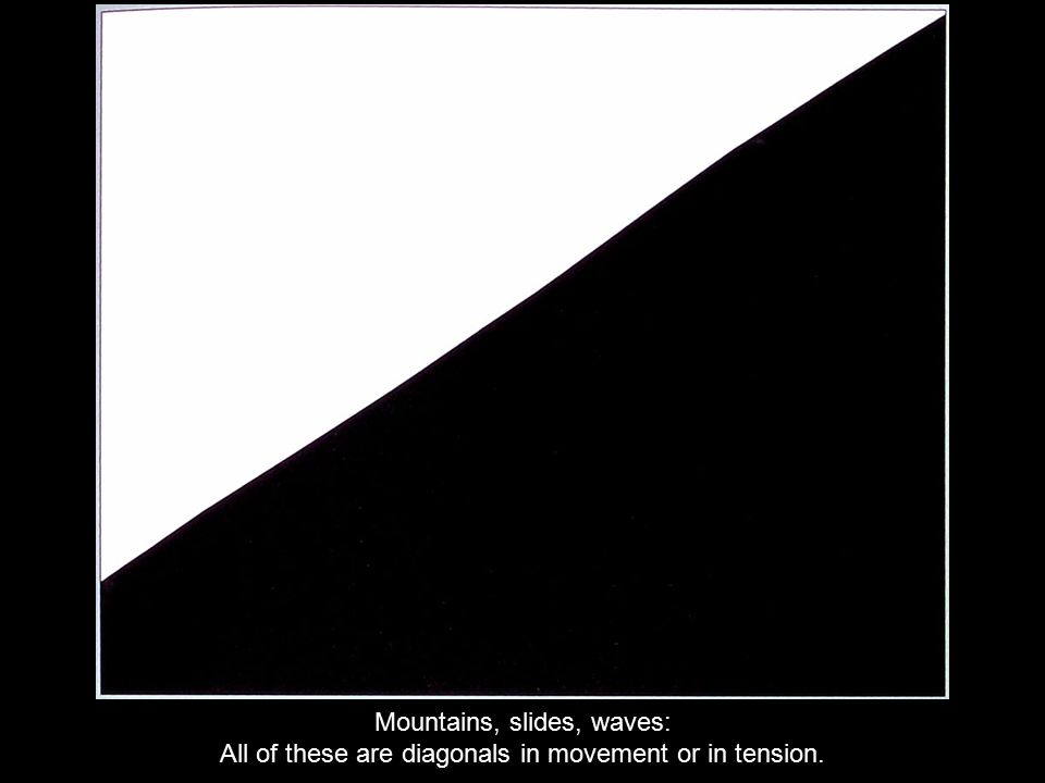 Mountains, slides, waves: All of these are diagonals in movement or in tension.