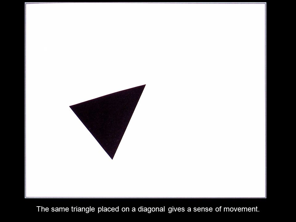 The same triangle placed on a diagonal gives a sense of movement.